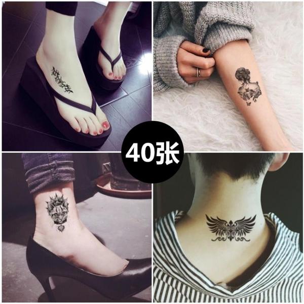 紋身貼 一份40張小清新紋身貼紙防潑水男女正韓持久仿真紋身貼紙身體彩繪