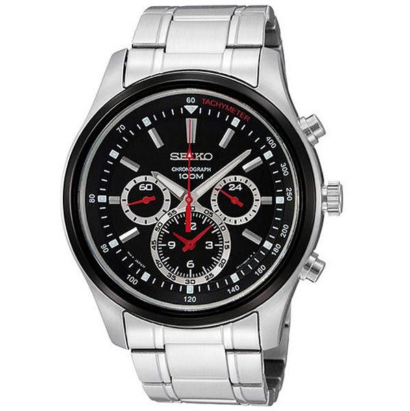 【僾瑪精品】SEIKO精工三眼賽車時代三眼計時腕錶-黑/43mm 7T11-0BA0R(SRW003P1)