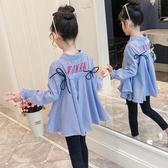 兒童襯衣女童襯衫春秋裝2019新款女寶寶長袖韓版上衣中大童娃娃衫