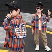 兒童裝男童襯衫春秋2021年新款春裝中大童春款男孩純棉格子襯衣潮 艾瑞斯