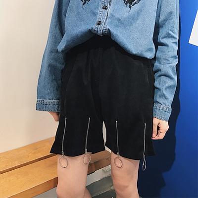 [超豐國際]春夏女裝原宿風個性開叉寬松外穿短褲燈芯絨闊腿褲休1入