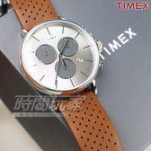 TIMEX 天美時 網點 三眼計時真皮手錶 多功能錶 學生錶 男錶 女錶 白x咖啡色 TW2R79900