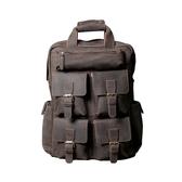 真皮後背包-大容量多隔層瘋馬牛皮男女雙肩包73vz33【時尚巴黎】