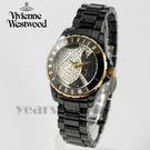 【萬年鐘錶】 Vivienne Westwood  英國 時尚精品星球晶鑽陶瓷錶  黑x金  32mm  VV088SGDBK