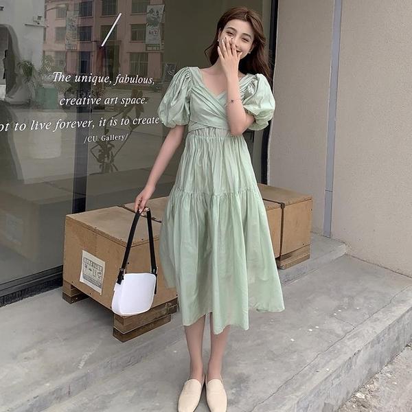 小洋裝 連身裙好質量夏季復古泡泡袖天絲仙女連身裙中長款裙子FFA027依佳衣