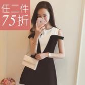洋裝 韓版 修身顯瘦性感露肩連身裙 花漾小姐【預購】