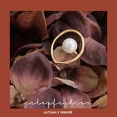 戒指 優雅設計珍珠不規則戒指 單色-小C館日系