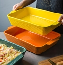 烤盤 烤碗芝士焗飯烤盤家用陶瓷大號烘焙雙耳長方形微波爐烤箱烤肉魚盤