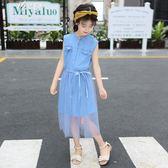 女童洋裝兒童洋氣韓版夏季女孩寶寶公主裙子中大童夏裝       伊芙莎