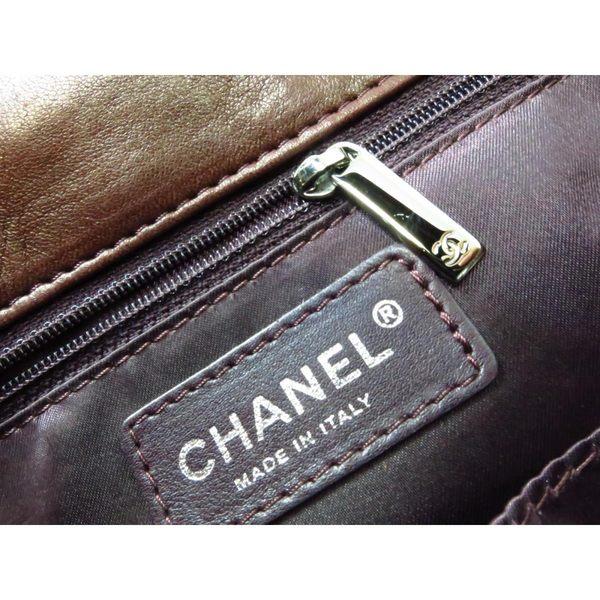 【特價33%OFF】CHANEL 香奈兒 茶色蛇皮拼接牛皮銀鍊手提包【二手名牌 BRAND OFF】