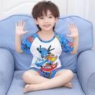男童睡衣夏季精梳純棉短袖薄款兒童寶寶小孩卡通空調家居服套裝夏2021新品