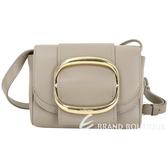 SEE BY CHLOE Hopper 迷你款 金屬環釦飾牛皮斜背包(卡其灰) 1930399-06