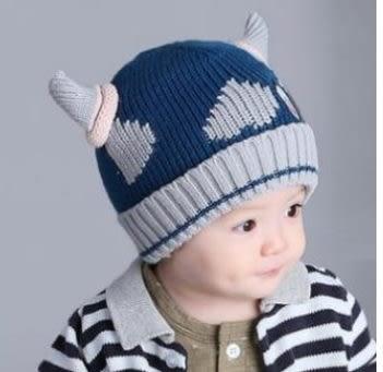 預購-小牛角兒童保暖帽子 冬季加絨加厚針織毛線帽