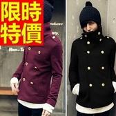 毛呢外套-羊毛獨一無二短版溫暖男風衣大衣3色62n65【巴黎精品】