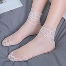 蕾絲襪子 5雙裝荷葉花邊鬆口襪花朵鏤空蕾絲棉底短襪四季款網紗日系襪子女-Ballet朵朵