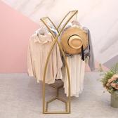 服裝展示架 金色中島架落地架 簡約服裝店展示架雙排架中間貨架雙杠側掛衣架 星隕閣