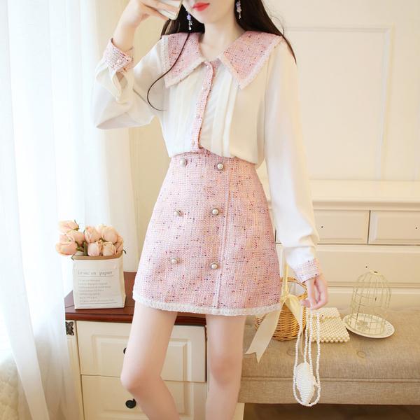 VK旗艦店 韓系雪紡上衣粗花呢排釦裝飾套裝長袖裙裝