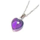 天然紫晶心吊墜純銀項鍊...