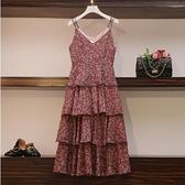 吊帶裙裙子中大尺碼L-4XL新款百搭顯瘦碎花中長款波點背帶蛋糕連身裙4F072-6819.一號公館