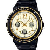 CASIO 卡西歐 Baby-G 優雅雙顯手錶-黑 BGA-151EF-1BDR / BGA-151EF-1B
