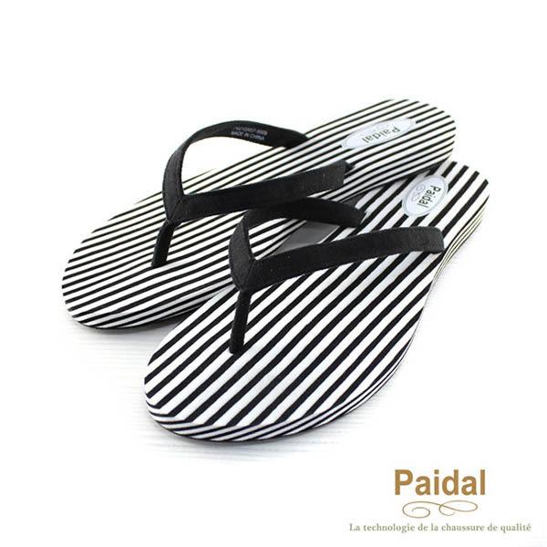 Paidal 時尚條紋波希米亞渡假夾腳拖鞋涼鞋-黑