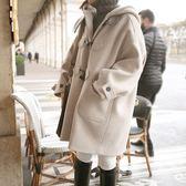 毛呢大衣新款連帽毛呢外套女學生韓國學院風中長款牛角扣呢子大衣「輕時光」