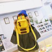 日系可愛姜黃色帆布街拍斜挎包單肩手機包女包【店慶滿月好康八五折】