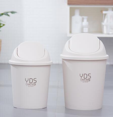 垃圾桶家用客廳臥室衛生間廁所有蓋帶蓋創意搖蓋大小號可愛塑膠筒 安妮塔小舖