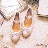 鞋子 配色圓點鏤空蝴蝶結繫踝粗跟鞋-Ruby s露比午茶
