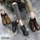 靴子.圓頭氣質小短靴【KBF18】黑/棕...
