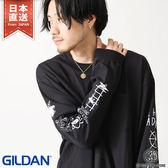 長袖T恤 塗鴉印花聯名寬版上衣 GILDAN