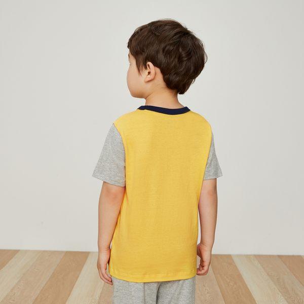 Gap男嬰幼童 Logo印花拼色圓領短袖T恤 442477-淡黃色