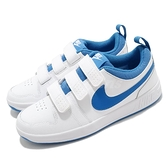 Nike 休閒鞋 Pico 5 GS 白 藍 女鞋 大童鞋 運動鞋 魔鬼氈 【ACS】 CJ7199-103