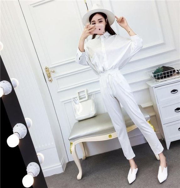 2018秋裝新款氣質韓版翻領單排扣長袖襯衣 松緊腰直筒九分褲套裝