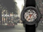 【時間道 】KENNETH COLE 時尚運動風機械鏤空腕錶/黑面黑膠帶(KC10030790)免運費