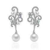 耳環 純銀鍍白金 鑲鑽-高貴奢華生日情人節禮物女飾品73cr126【時尚巴黎】