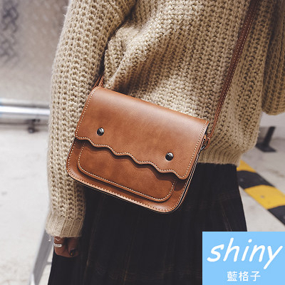 【P139】shiny藍格子-復古女包.簡約波浪單肩斜挎小包