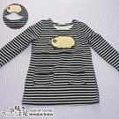 可愛毛綿羊圖案條紋孕婦哺乳【橫拉式】上衣 黑【CTH010720】孕味十足 孕婦裝