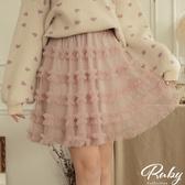 裙子 荷葉蛋糕層次鬆緊紗裙短裙-Ruby s 露比午茶