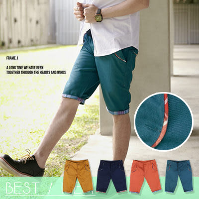∥柒零年代∥Spring Look【N7823J】韓版獨家嚴選單品 口袋滾邊格紋反摺褲管休閒短褲(LE-F3005)
