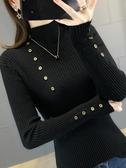 毛衣外套半高領毛衣女新款秋冬女士修身長袖黑色打底衫洋氣外穿針織衫