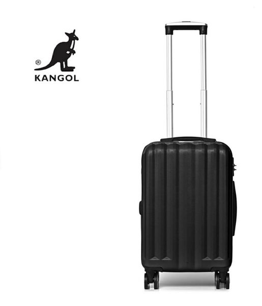 KANGOL- 英國時尚 百搭經典拉鍊可擴充 旅行箱/行李箱-28吋 黑