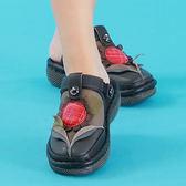 (零35)MODO/包拖兩用-3D向日葵-THE ONE 氣墊鞋(全牛皮)-E40007 黑
