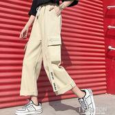 春夏季新款cec直筒百搭美式大口袋工裝褲女寬鬆街頭bf抽繩寬管潮-ifashion
