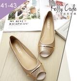 大尺碼女鞋-凱莉密碼-夏季時尚金蔥撞色好穿平底魚口涼鞋1cm(41-43)【EL777-U5】金色