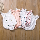 透氣棉紗布包屁衣 女童 無袖 包屁衣 連身衣 嬰兒 新生兒 橘魔法 現貨