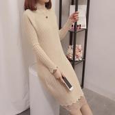 洋裝 春秋女裝中長款針織衫修身蕾絲毛衣打底衫時尚假兩件連衣裙半高領