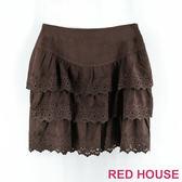 Red House 蕾赫斯-縷空雕花蛋糕裙(咖啡色)