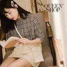 Queen Shop【01096227】配色襯衫領格紋上衣*現+預*