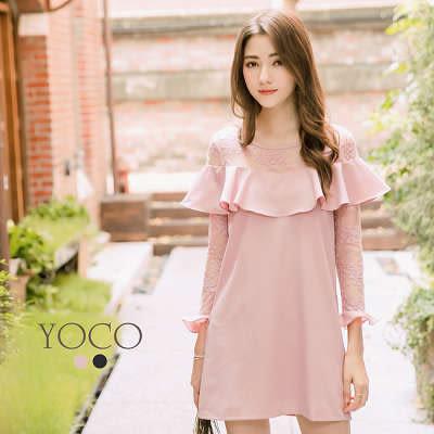 東京著衣【YOCO】知性名媛荷葉拼接蕾絲洋裝-S.M.L(172130)